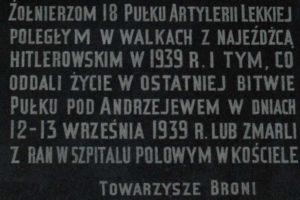 Tablica 18 Pułku Artylerii Lekkiej