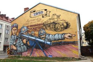 Mural upamiętniający Obrońców Łomży