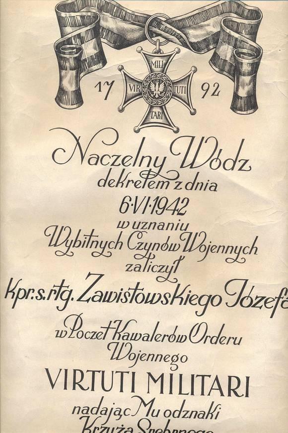 Dyplom Krzyża Srebrnego Orderu Wojennego Virtuti Militari nadanego Józefowi Zawistowskiemu