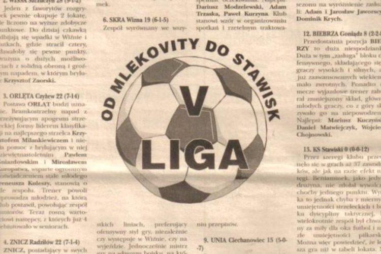 """Wycinek z tygodnika """"Kontakty"""" opisujący rozgrywki V ligi piłkarskiej"""