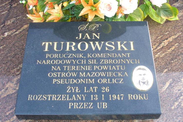 """Tablica nagrobna porucznika Jana Turowskiego ps. """"Orlicz"""""""