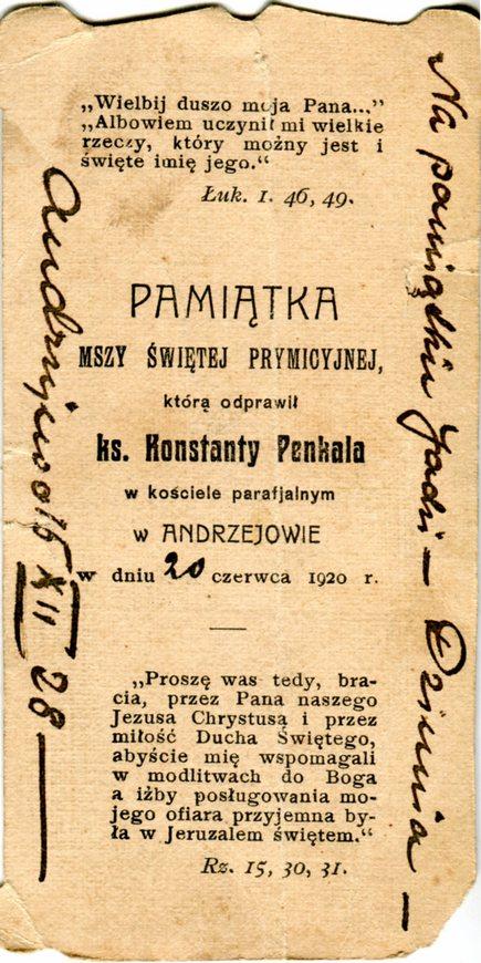 Obrazek prymicyjny księdza Konstantego Penkali