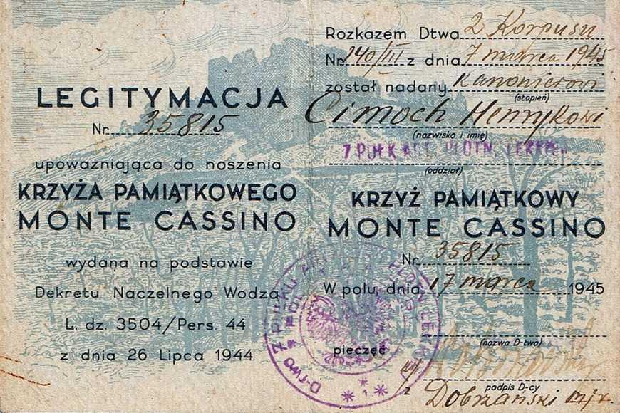 Legitymacja Krzyża Monte Cassino
