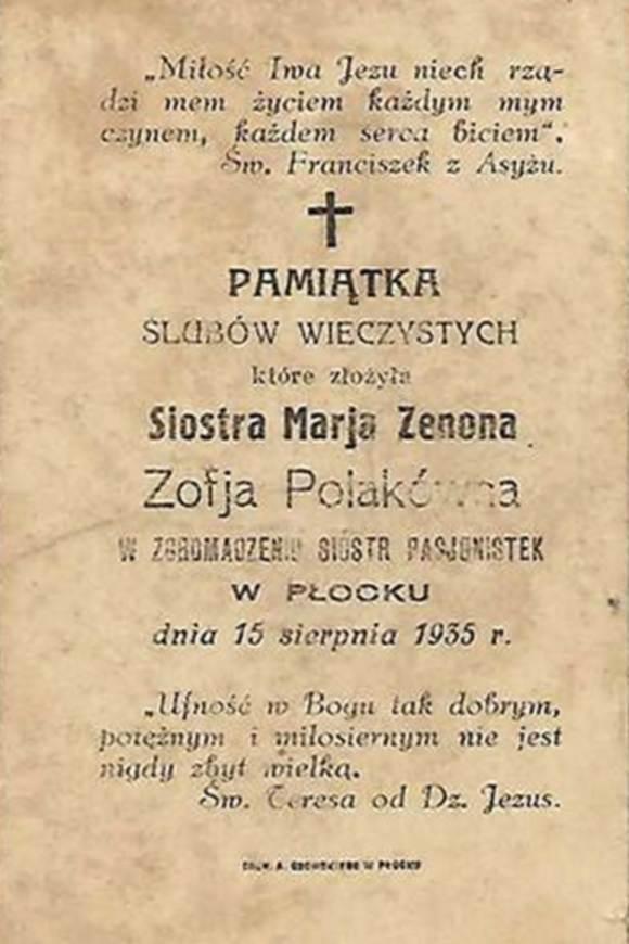Pamiątka ślubów wieczystych siostry Zenony