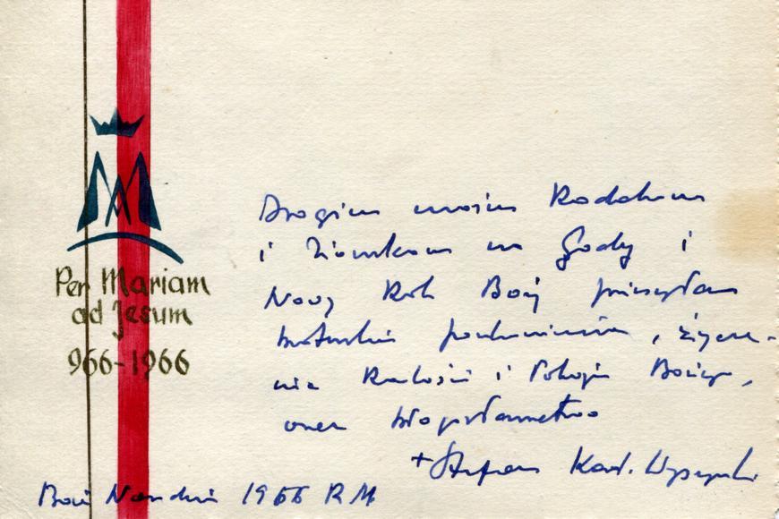 Jedna zwielu kart zżyczeniami odPrymasa dla parafian zAndrzejewa