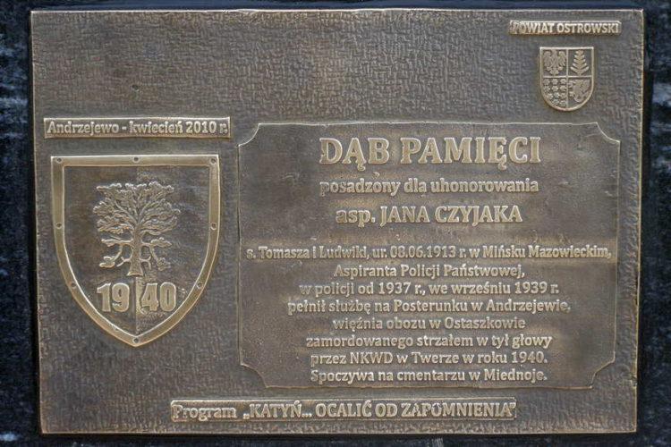 Tablica upamiętniająca aspiranta Jana Czyjaka